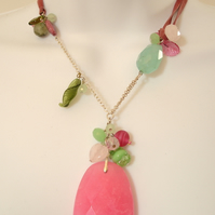 Candy Pink Jade and Amazonite Statement Necklace. One Off Piece.