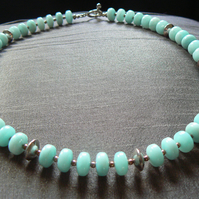 Amazonite and Silver Roundelle Collar Necklace