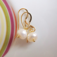 Gold Vermeil and Ivory Freshwater Button Pearl Drop Earrings