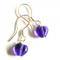 Amethyst Glass Mini Heart Earrings