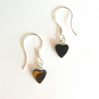 Mini Haematite Heart Drop Earrings