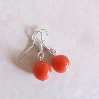 Coral Orange Seashell Pearl Drop Earrings