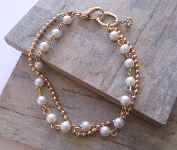 Glass Pearls and Gold Bracelet