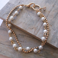 Pearls and Gold Bracelet