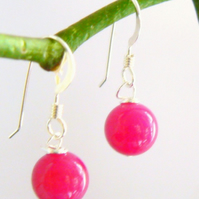 Magenta Pink Jade Drop Earrings