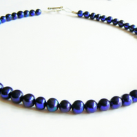Midnight Blue Freshwater Pearl Collar Necklace