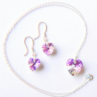 Lilac AB Swarovski Crystal Heart Pendant and Earrings Set