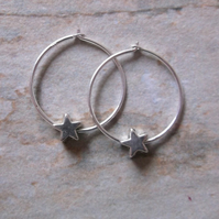 Sterling Silver 18mm Hoops with Stars