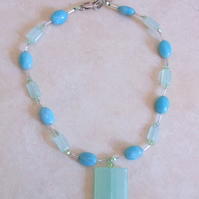 50% off LAST ONE Amazonite and Swarovski Crystal Choker Necklace