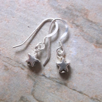 Mini Silver Star Drop Earrings