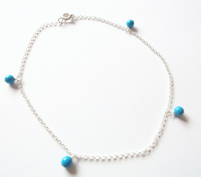 SUMMER SALE. Sterling Silver and Turquoise Anklet