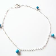 Sterling Silver and Turquoise Anklet