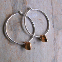 Silver Hoops with Rose Gold Mini Hearts