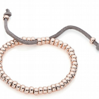 Rose Gold Plate and Suede Friendship Bracelet