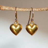 Gold Vermeil Heart Drop Earrings