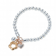 Silver and Rose Gold Charm Friendship Bracelet