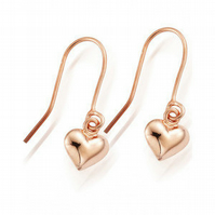 Rose Gold Vermeil Heart Drop Earrings