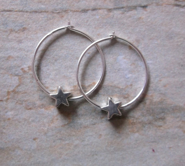 Sterling Silver Hoops with Silver Stars