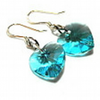 Turquoise Swarovski Crystal Heart Drop Earrings