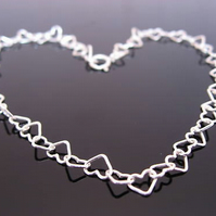 SALE. Sterling Silver Hearts Anklet 10.5 inches