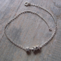 Sterling Silver Stars Anklet 10.5 inches