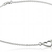 Sterling Silver Open Heart Anklet 9.5 inches