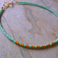Skinny Minimal Turquoise and Gold Plate Bracelet