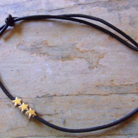 Minimal Black Leather with Silver Stars Anklet
