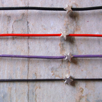 Leather and Silver Star Friendship Bracelets