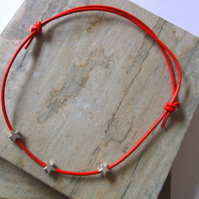 SUMMER SALE. Red Leather Anklet with Silver Stars