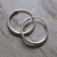 Mens 16mm Sterling Silver Hoop Earrings