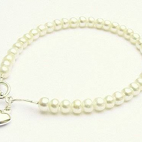 Ivory Freshwater Button Pearl Bracelet with Silver Heart Charm