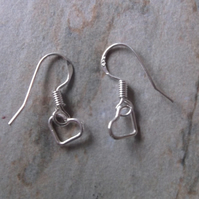 Sterling Silver Floating Heart Drop Earrings
