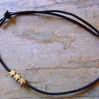 Black Leather Anklet with Tiny Silver Stars