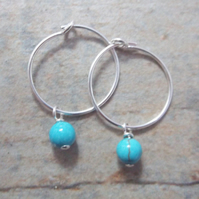 Sterling Silver Hoop Earrings with Turquoise