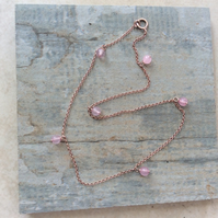 22k rose gold vermeil with rose quartz anklet