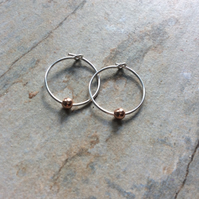 Minimal Mini Rose Gold Beads on Silver Hoop Earrings