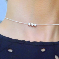 Silver Mini Stars Choker Necklace