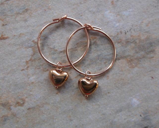 Rose Gold Filled Hoops with Rose Gold Heart Drops