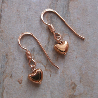 Mini Rose Gold Vermeil Heart Earrings