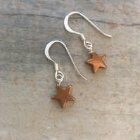Rose Gold Haematite Star Drop Earrings