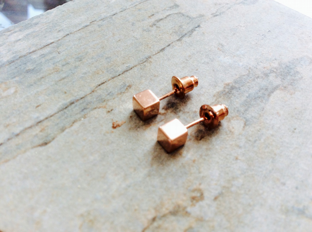 Limited Edition Rose Gold Plate Cube Stud Earrings