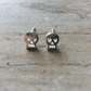 Halloween Silver Plate Skull Studs