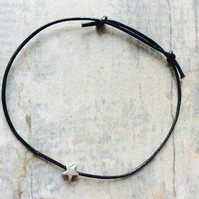 Black Leather and Silver Star Friendship Bracelet