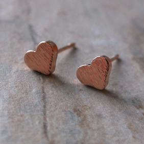 Rose Gold Plate Heart Stud Earrings
