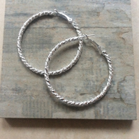 Silver Diamond Cut 50mm Hoop Earrings