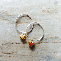Sterling Silver Hoops with Gold Heart Drops