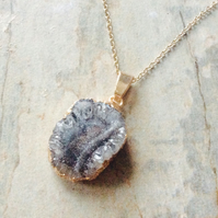 Grey Druzy Stone Pendant, one off piece