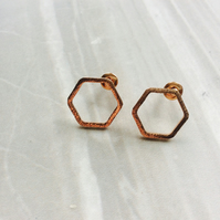 Rose Gold Plated Hexagonal Stud Earrings