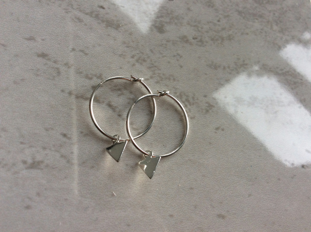 Sterling Silver Hoops with Triangle Charms